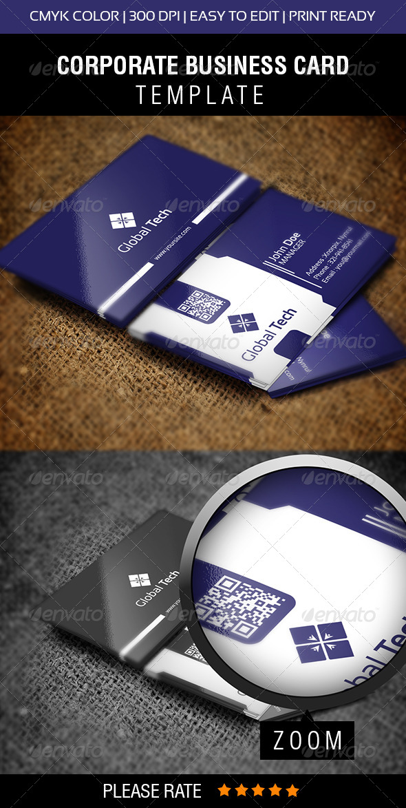 Global Tech Business Card - Corporate Business Cards