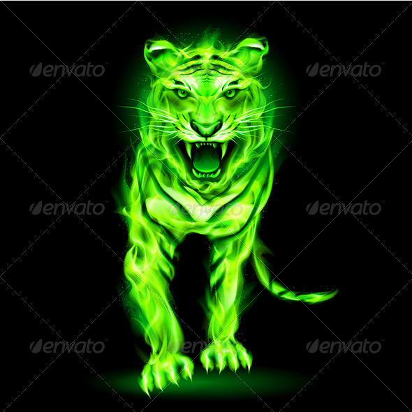 Green Fire Tiger. - Monsters Characters