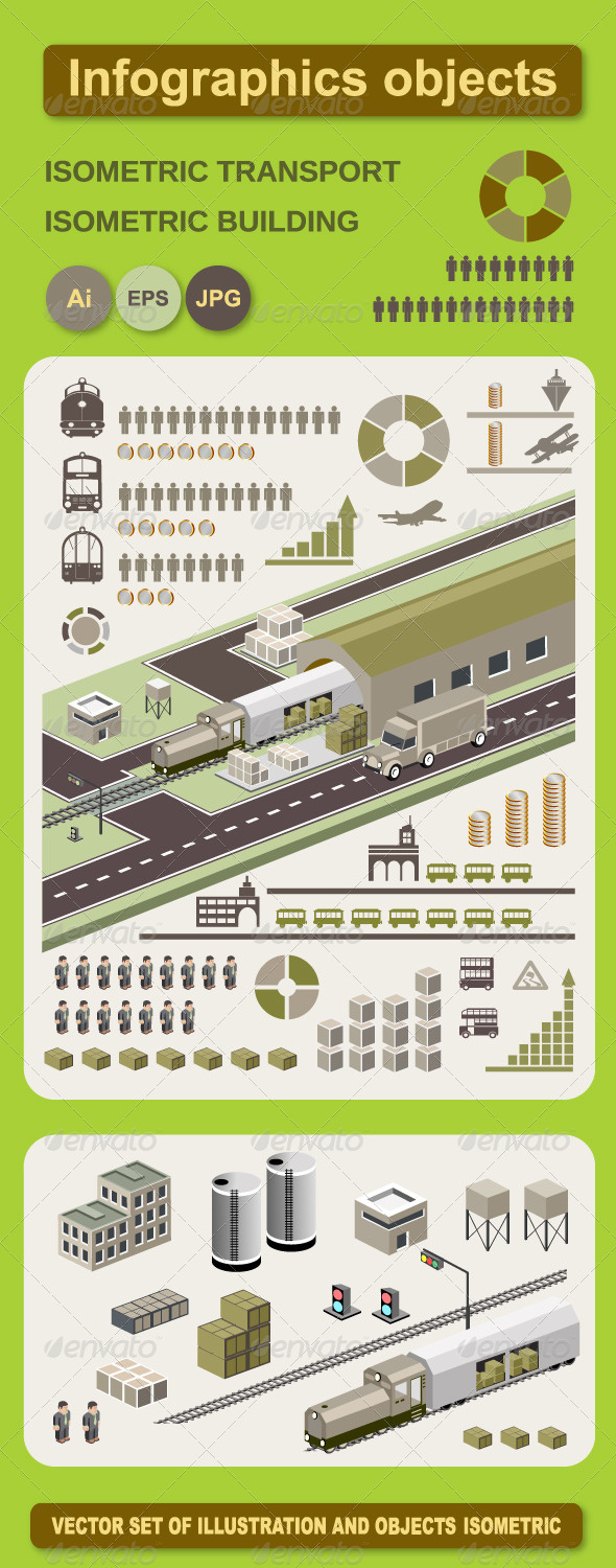 Infographics Vector Objects - Buildings Objects