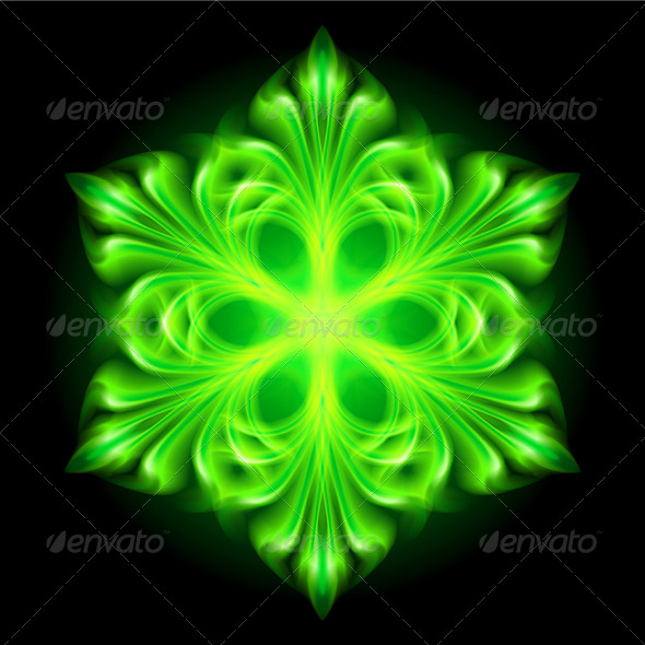 Green Fire Snowflake. - Decorative Symbols Decorative