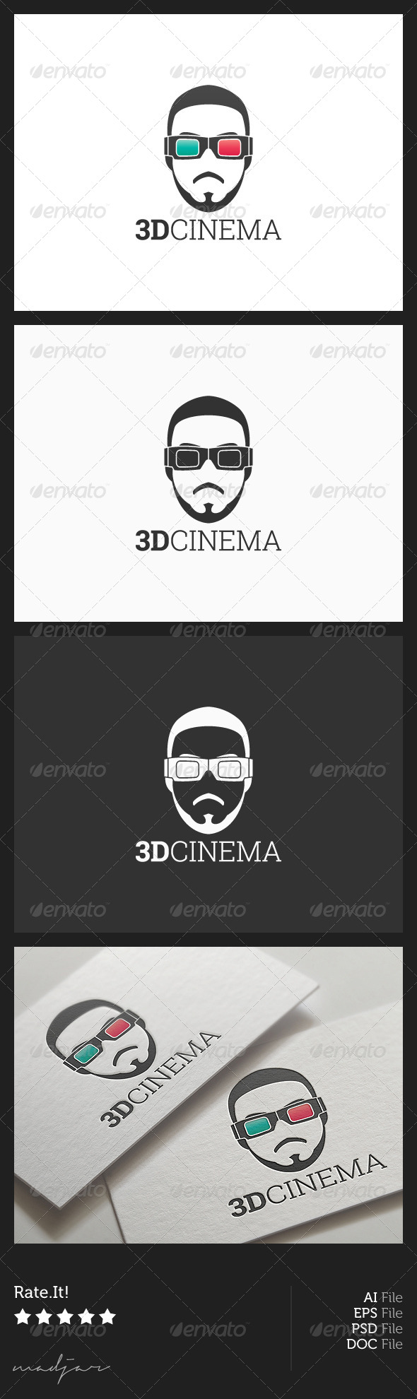 3D Cinema Logo - Humans Logo Templates