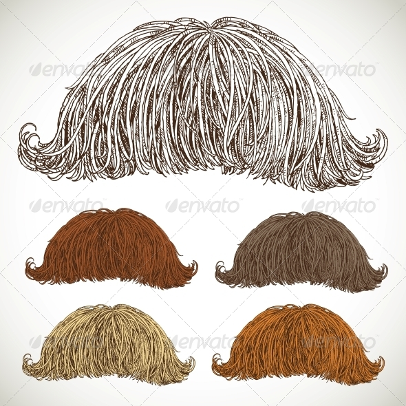Classic Retro Lush Mustache Set - Miscellaneous Characters