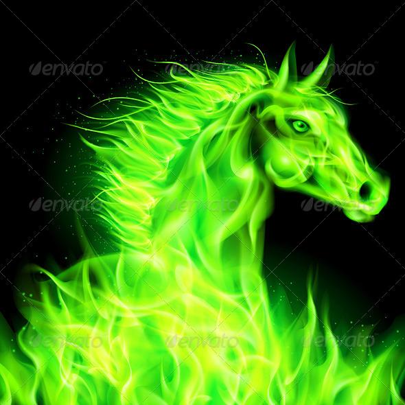 Green Fire Horse. - Decorative Symbols Decorative
