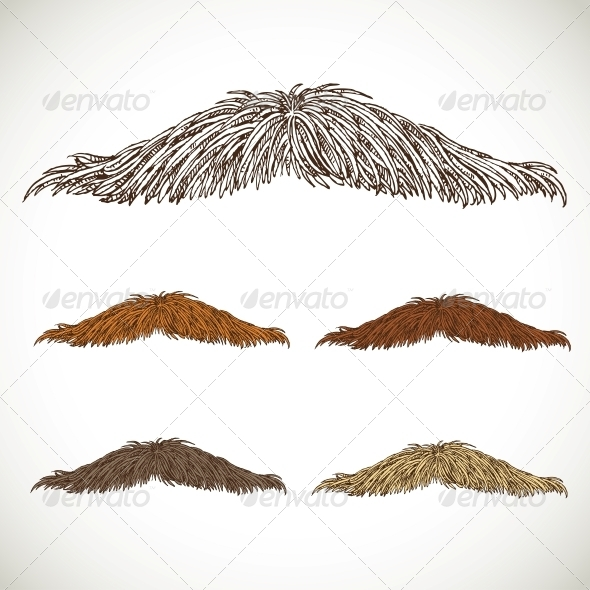 Classic Retro Thin Mustache Set - Miscellaneous Characters