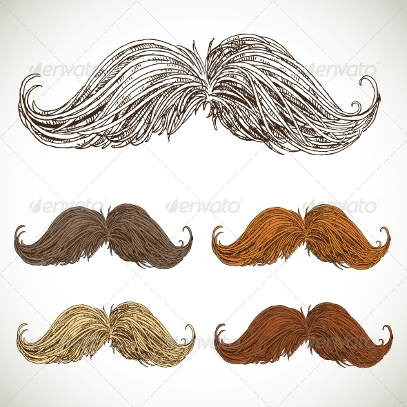 Classic Retro Twisted Mustache Set - Miscellaneous Characters
