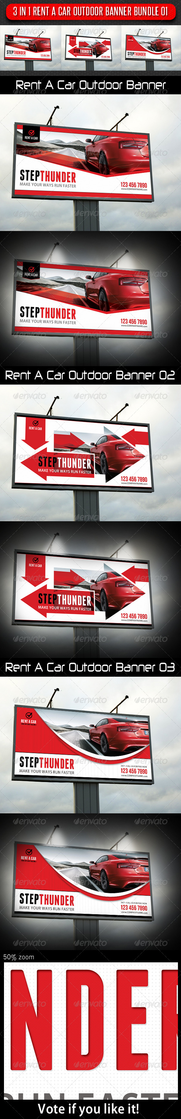 3 in 1 Rent A Car Outdoor Banner Bundle 01 - Signage Print Templates