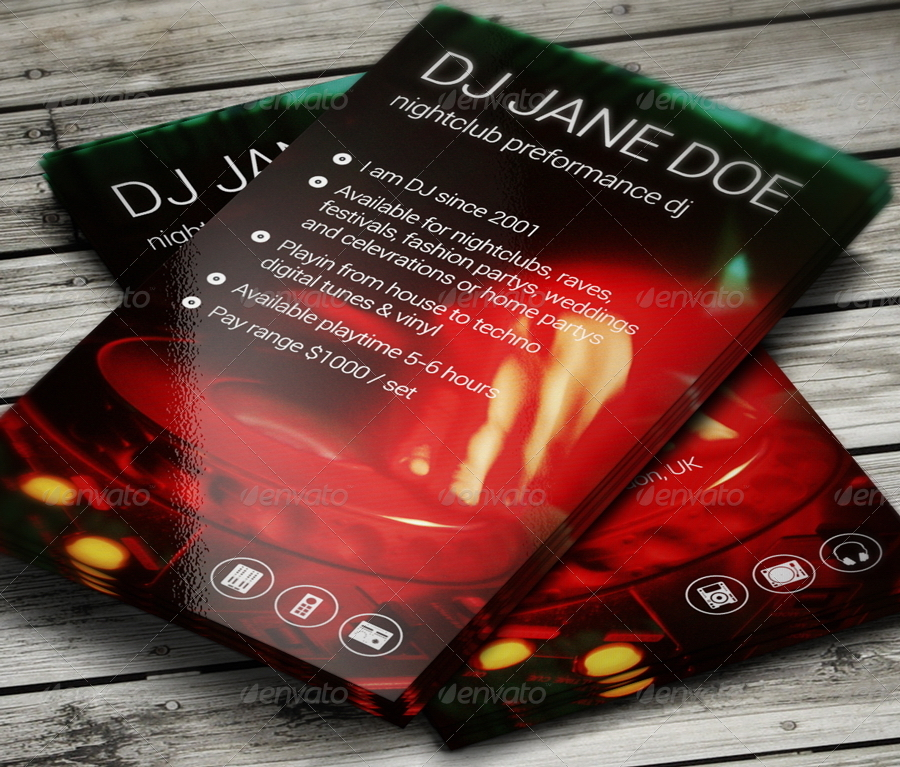 hot dj business card - Dj Business Cards