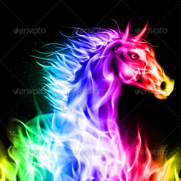 Colorful Fire Horse - Animals Characters