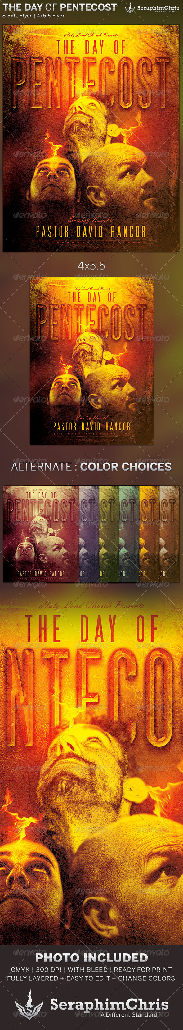 The Day of Pentecost: Church Flyer Template - Church Flyers