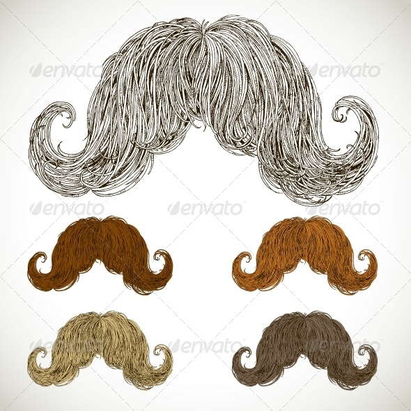 Lush Mustache Groomed in Several Colors - Miscellaneous Characters