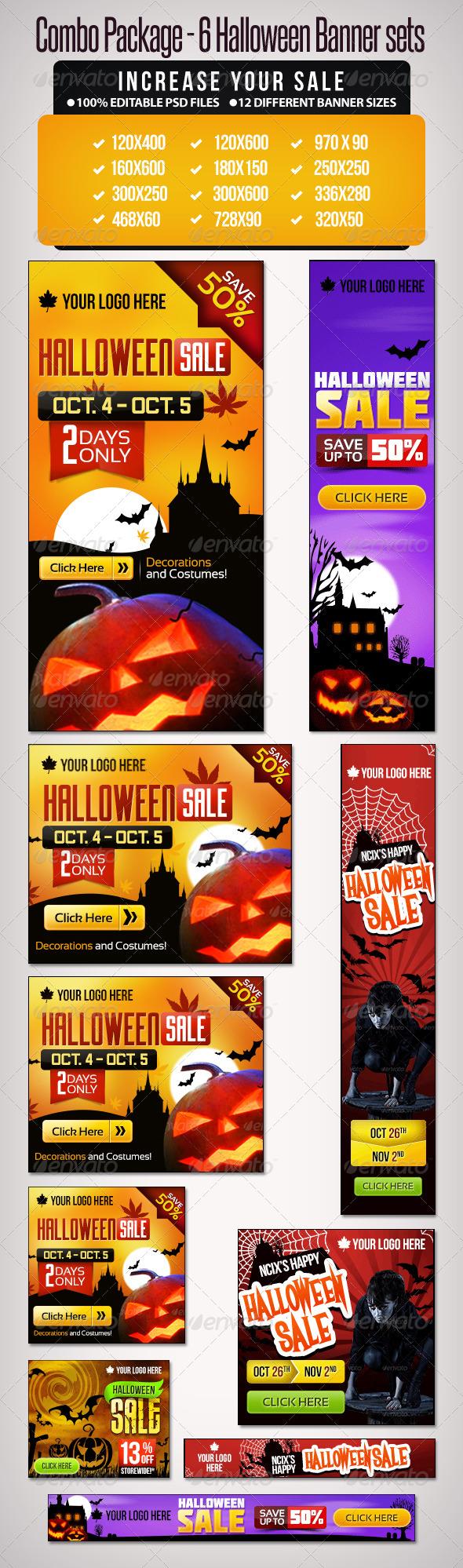 Bundle- 6 Sets of Halloween Banner Sets - Banners & Ads Web Elements