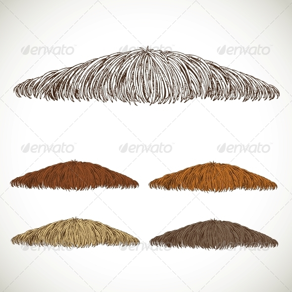 Mustache Groomed in Several Colors - Miscellaneous Characters