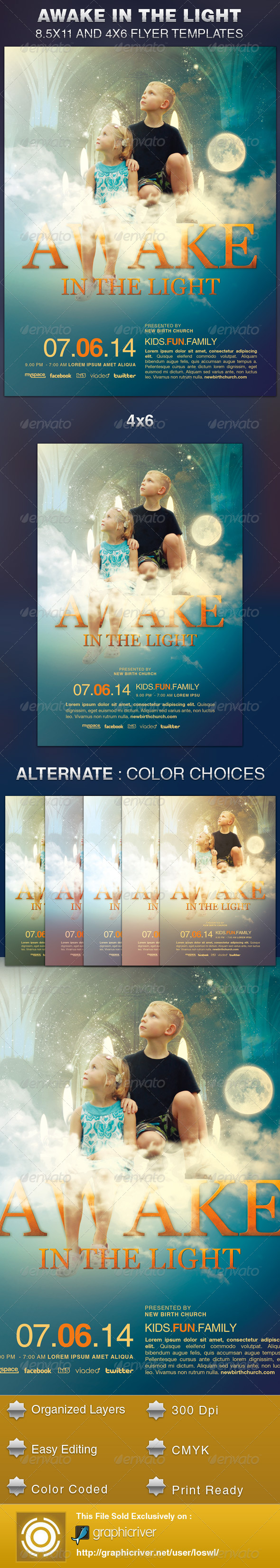 Awake in the Light Church Flyer Template - Church Flyers
