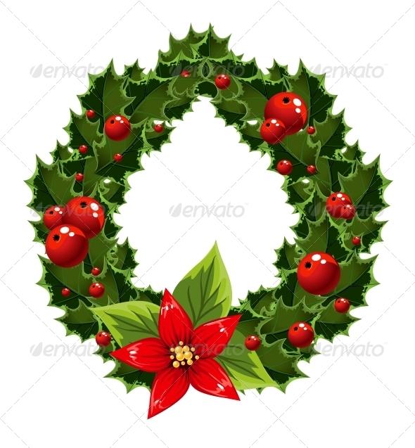 Christmas Green and Red Embellishment with Berry - Christmas Seasons/Holidays