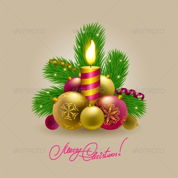 Background with Baubles, Christmas Tree. - Christmas Seasons/Holidays