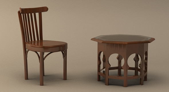 Realistic Arabic Style Table and Chair Model