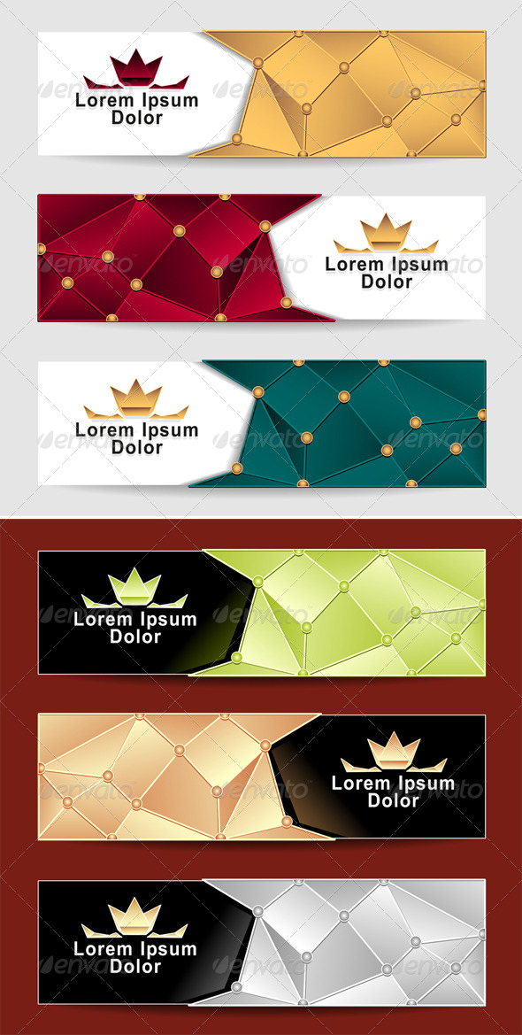Set Royal Triangle Banners - Decorative Vectors