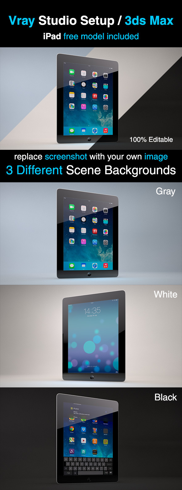 V-ray Studio Lighting Setup + iPad Model - 3DOcean Item for Sale