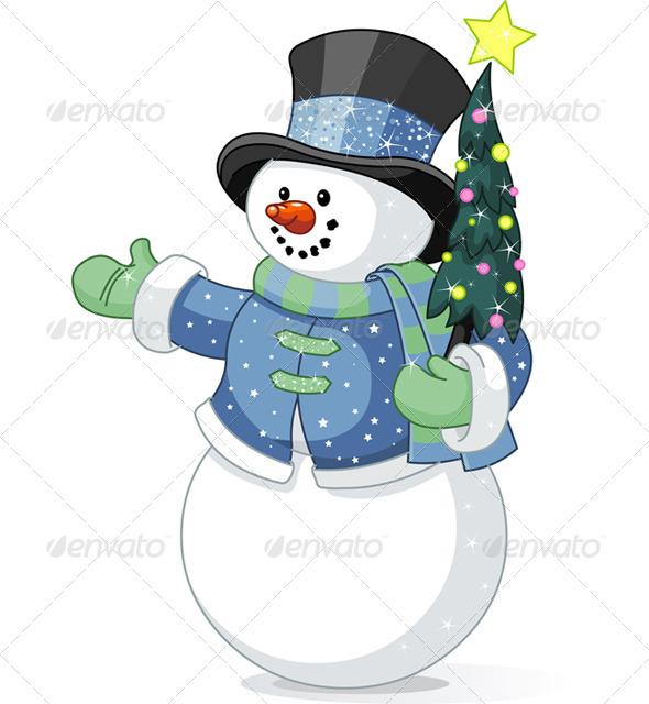 Snowman with Christmas Tree - Christmas Seasons/Holidays
