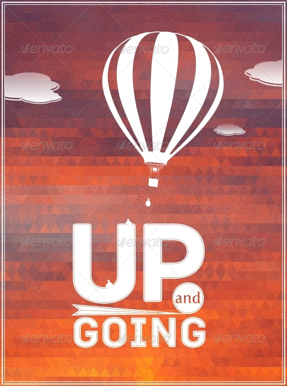 Hot Air Balloon in the Sky: Typographic Poster - Birthdays Seasons/Holidays