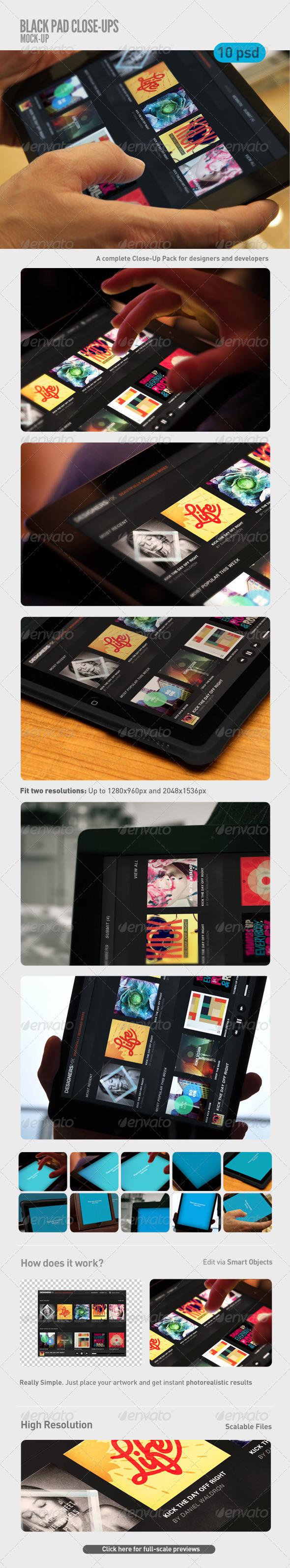 Black Pad   Tablet Close-Up Mock-Up - Mobile Displays