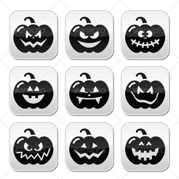 Halloween Pumkin Vector Buttons Set - Halloween Seasons/Holidays