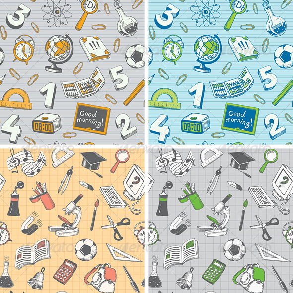 School and Education Seamless Pattern - Backgrounds Decorative