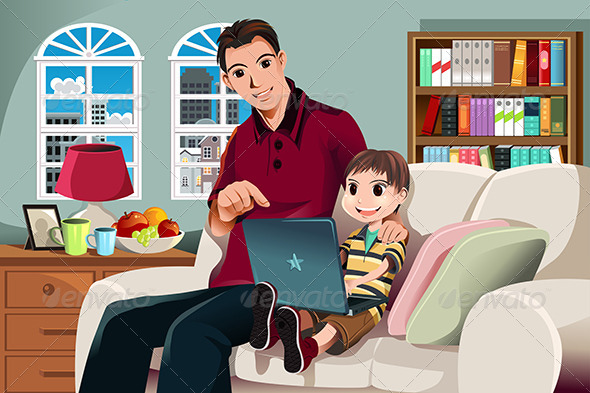 Father and Son Using Computer - People Characters