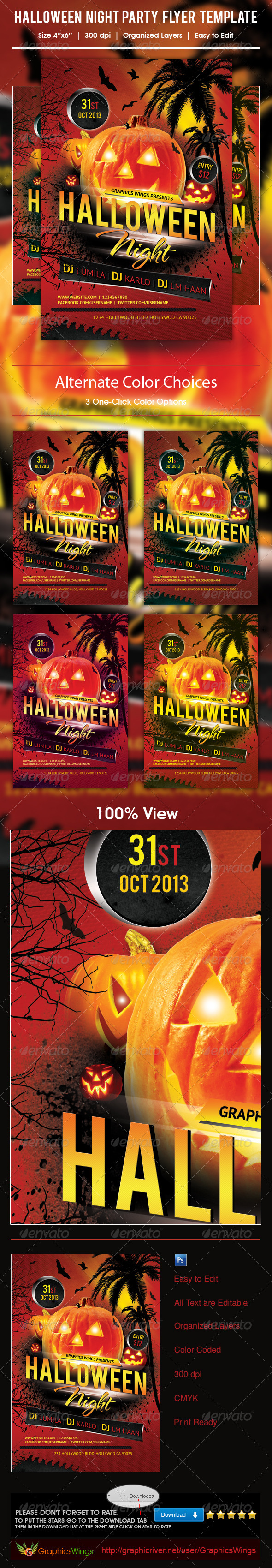 Halloween Night Party Flyer Template - Events Flyers