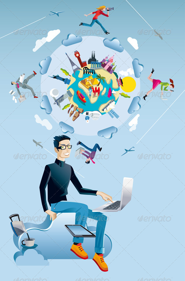 Man with Computer and World Globe - Technology Conceptual