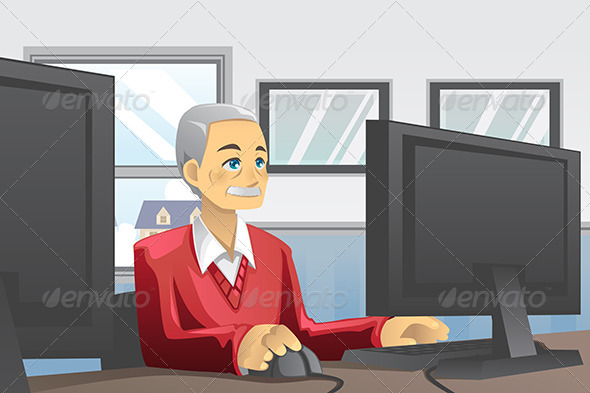 Senior Man Using Computer - People Characters