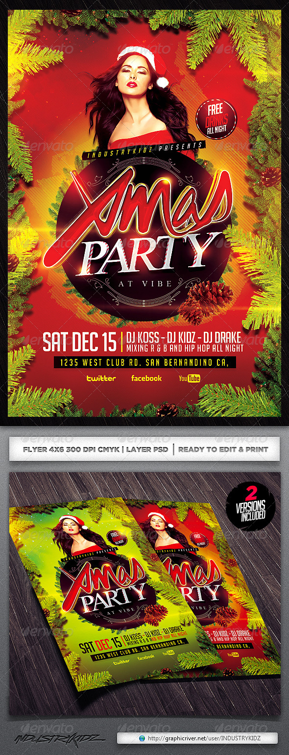 Christmas Party Psd Flyer - Events Flyers