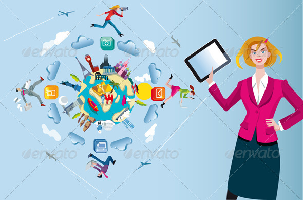 Woman with Tablet and World Globe - Concepts Business