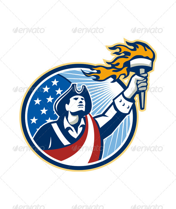 American Patriot Holding Torch Stars Stripes Flag - People Characters