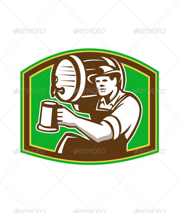 Barman Bartender Pour Beer Barrel Retro - People Characters