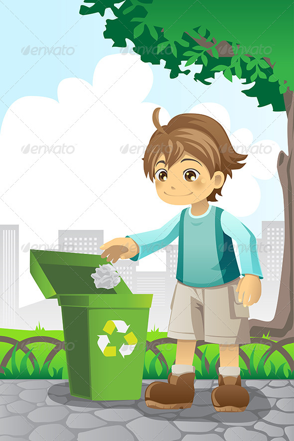 Boy Recycling Paper - People Characters