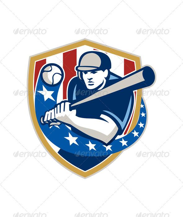 Baseball Hitter Batting Stars Stripes Retro - Sports/Activity Conceptual