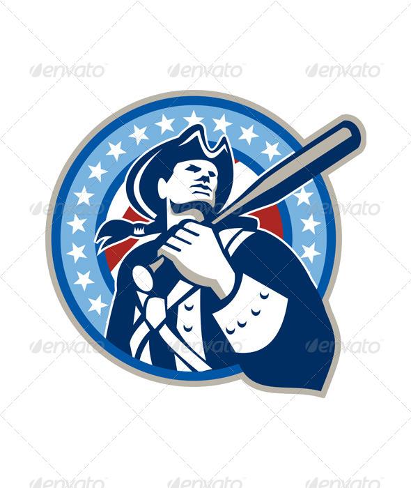 American Patriot Baseball Bat Retro - Sports/Activity Conceptual