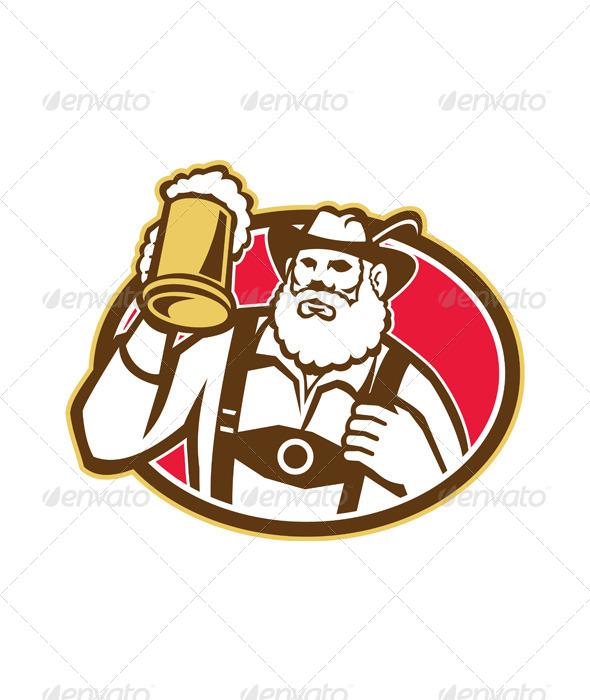 Bavarian Beer Drinker Mug Retro - People Characters
