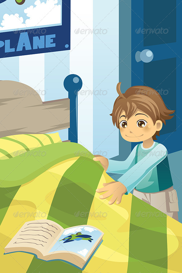 Boy making his Bed - People Characters