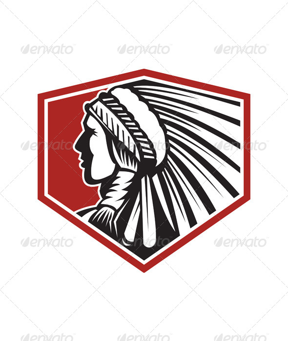 Native American Indian Warrior Side Retro - People Characters