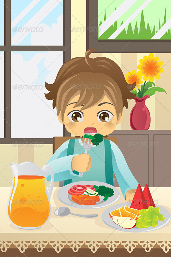 Boy Eating Vegetables - People Characters