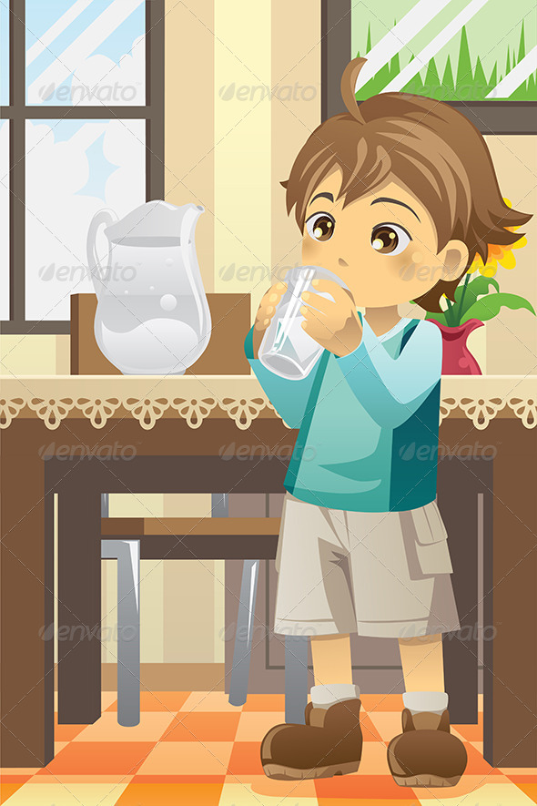 Boy Drinking Water - People Characters