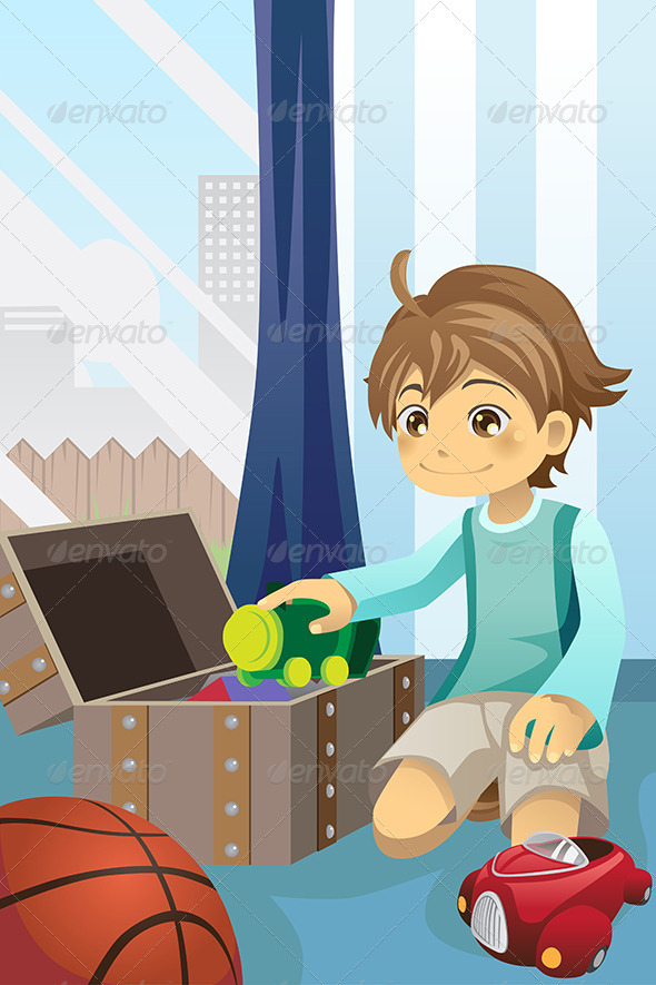 Boy Cleaning Up his Toys - People Characters