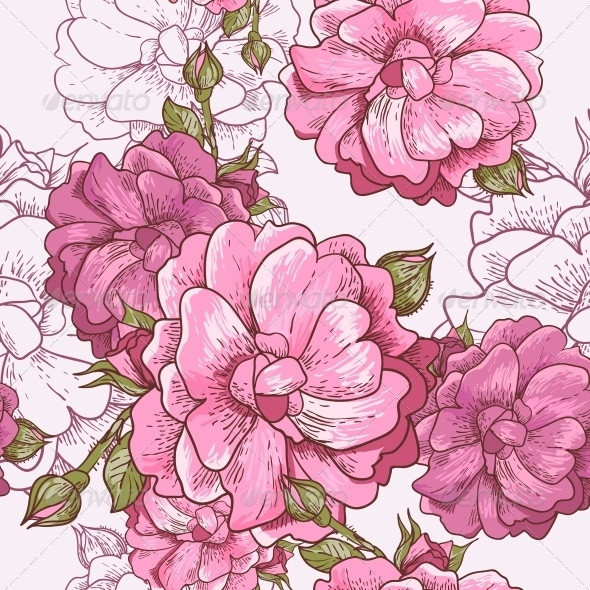 Seamless Rose Background - Patterns Decorative