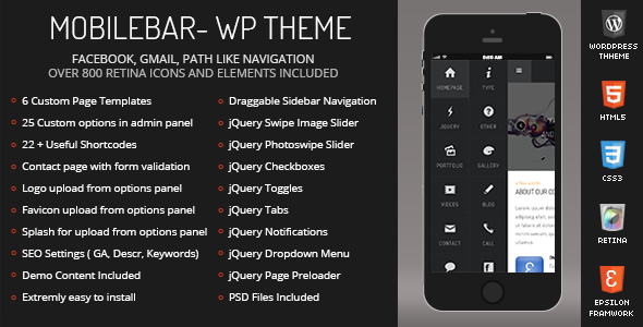 Image of Mobilebar Mobile | Mobile WordPress Theme