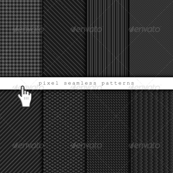 Dark Pixel Seamless Patterns - Web Elements Vectors