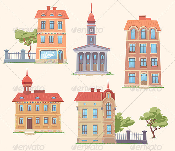 Classic Vector Buildings Set - Buildings Objects