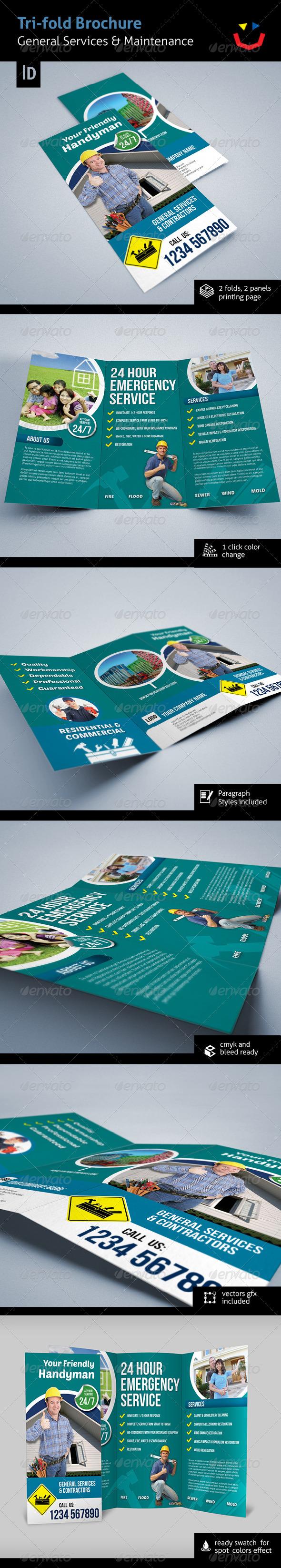 Tri-fold General Services & Contractors Brochure - Brochures Print Templates