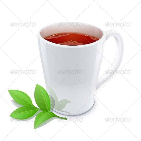 Cup of Tea with Green Tea Leafs - Miscellaneous Vectors
